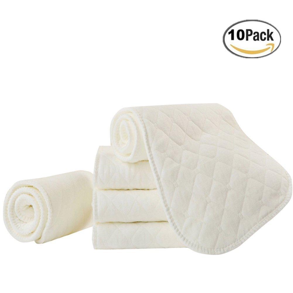 Velidy Velidy 10er Set Wiederverwendbare Waschbare Babywindeln 100% Baumwolle Schadstoffgeprüft, Super Weich Baumwolle Einsätze Liners fürs Newborn Baby 32*12cm weiß DQ-334