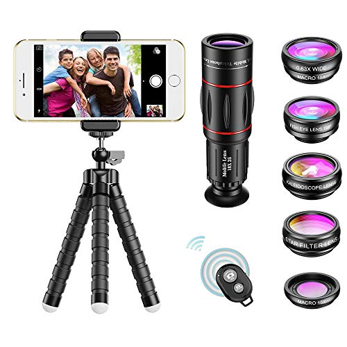 APEXEL Phone Camera Lens with 18x Telephoto Lens+Fisheye,Macro/Wide Angle Lens+Star,Kaleidoscope Filter+Tripod and Shutter 8 in 1 Cell Phone Lens Kit Fit For iPhone and other Smartphone