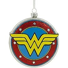 Hallmark DC Comics Wonder Woman Shield Blown Glass Christmas Ornament