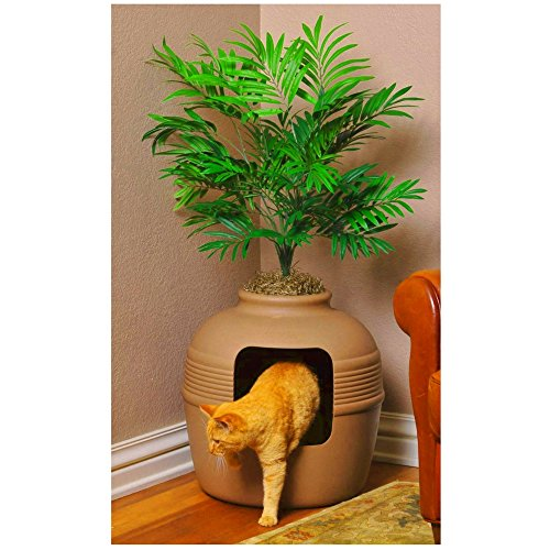 Large Cat Litter Box High Sides Covered Hidden with Decorative Planter Plastic Cutout Door Filtered Vented System Round Easy Access Decor for Any Room & eBook by BADA shop