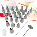 29pcs DIY Cake Decorating Tips Set Supplies for Cupcakes Cookies - 26pcs Stainless Steel Pastry Tips, 1 Reusable Plastic Couplers, 1 Flower Nail and 1 Brush with Storage Case
