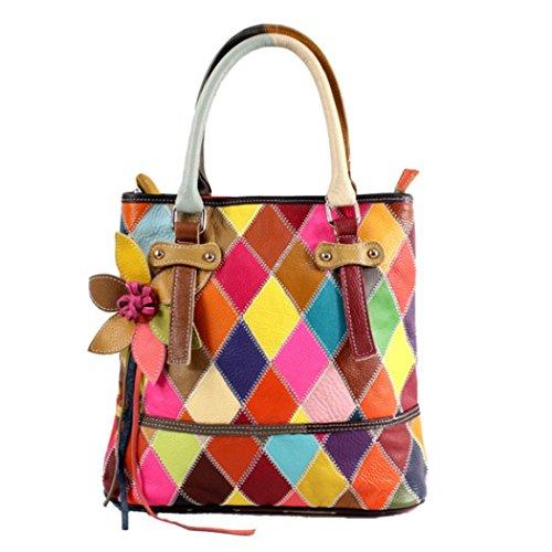 JUNBOSI Bolsos de cuero/Bolsa de mensajero Lingge Color Splice Gran capacidad tridimensional Bolso de hombro de flores Moda Ladies Bag-Four Seasons se pueden utilizar Color