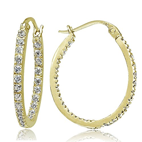 (Hoops & Loops Yellow Gold Flash Sterling Silver CZ Cubic Zirconia Inside Out 20mm Oval Hoop Earrings)