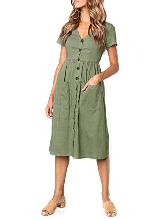 FOURSTEEDS Womens Summer Short Sleeve V-Neck Button T Shirt Midi Skater  Dress with Pockets at Amazon Women s Clothing store  d8dcc46ef