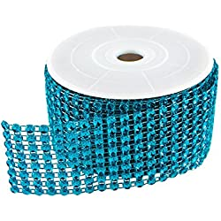 "Diamond Sparkling Rhinestone Mesh Ribbon Roll for Arts & Crafts, Event Decorations, Wedding Cake, Birthdays, Baby Shower, 1.5"" x 3 Yards, 8 Row, 1 Roll by Super Z Outlet (Turquoise)"
