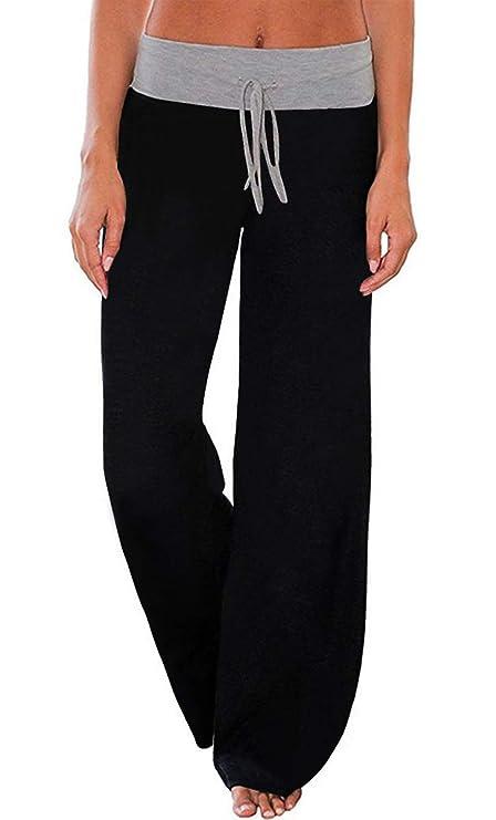 AMiERY Womens Pajamas Pants Juniors Solid Pants Wide Leg Palazzo Lounge Pants Black XL best women's sweatpants
