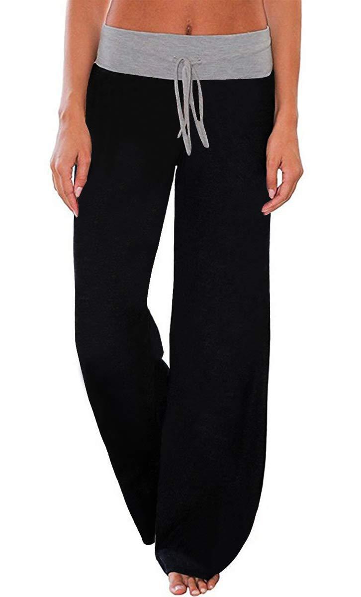 AMiERY Womens Pajamas High Waisted Pants Juniors Sleep Stretch Solid Pants Wide Leg Pants Jogger Palazzo Lounge Pants Black L