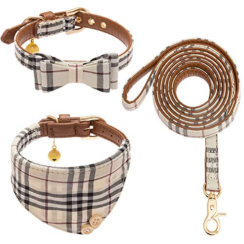 CHERPET Bow Tie Dog Collar and Leash Set - Cute Plaid Bandana Necktie Adjustable Leather Small Dog Collars with Bell, Safety Outdoor Walking Soft Cotton Comfortable for Puppy Kittens Cat,3pcs/Set