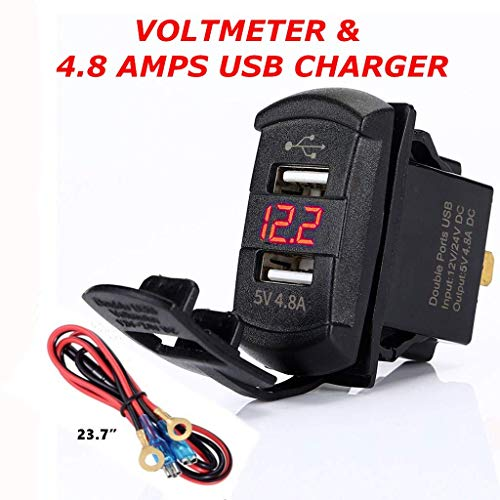 4.8 Amps Dual USB Rocker Style Charger w/Red Voltmeter for Boats, Polaris RZR 900, RZR 1000, Ranger, Mobile Home, RV, Can Am Spyders, Can Am Maverick, Can AM SxS, Golf Cart