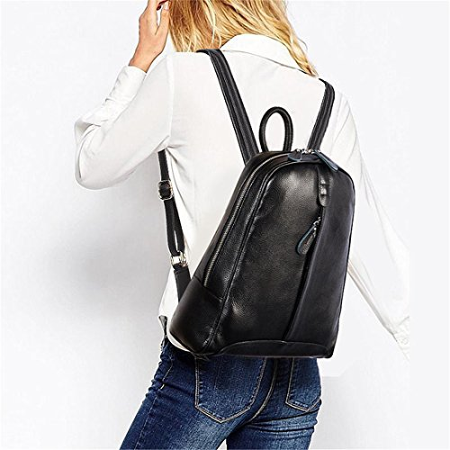 Schoolbag Fashion Preppy Notebook Leather Travel Style White Knapsack 100 Pure Bag Yellow Backpack Casual Genuine Girl's Women Laptop 8APxPf