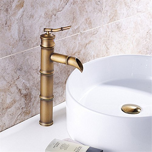AQiMM WaterfallSpoutCommercialBathroomSinkFaucet Vanity Faucet Brass Retro Bamboo Single Hole Waterfall Copper Hot And Cold Water Sink Mixer Tap For Lavatory Vanity Sink Faucet BasinMixerTap