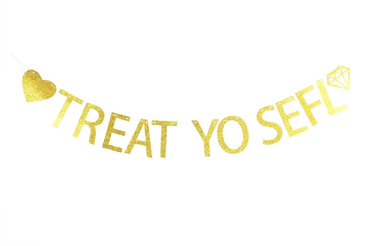 Lovely BITON Gold Treat Yo Self Letters Banner Decoration Kit Themed Party Banner for Birthday Wedding Showers Photo Props Window Decor