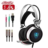 PC Gaming Headset with Mic, 3D Surround Sound Headphones with 50mm Speaker Driver, Noise Cancelling Over-Ear Headsets with LED Light - 3.5mm Connection for PS4/ Xbox One Controller/ Laptops/Smartphone
