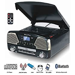 TechPlay ODC35BT with Bluetooth, 3 Speed Turntable Programmable MP3 CD Player, USB/SD, Radio & Remote Control (Black)