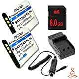 Two Halcyon 1500 mAH Lithium Ion Replacement Battery and Charger Kit + 8GB SDHC Class 10 Memory Card for Olympus Stylus Tough TG-630 iHS 12.0 MP Digital Camera and Olympus LI-50B