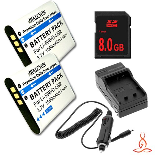 Two Halcyon 1500 mAH Lithium Ion Replacement Battery and Charger Kit + 8GB SDHC Class 10 Memory Card for Olympus Stylus Tough TG-630 iHS 12.0 MP Digital Camera and Olympus LI-50B by Halcyon