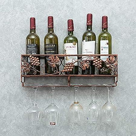 Botellero De Pared   DecoracióN De Hogar Y Cocina   DiseñO De InstalacióN FáCil   El Soporte De La Botella De Vino Puede Contener 5 Botellas De Vino, 5 Copas De Vino Tinto (Bronce, 50 * 17 * 10 Cm)