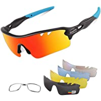 BangLong Sportbril Set 5 Verwisselbare Glazen,UV400-bescherming Gepolariseerde Zonnebril- Voor Heren En Dames Outdoor…