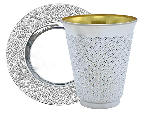 Exquisite 5.5 oz Disposable Plastic Kiddush Cup and Tatz Silver Cup and Saucer Set for Passover, Shabbat, Wedding, Brit and Year Round -10 Count - 5 Sets