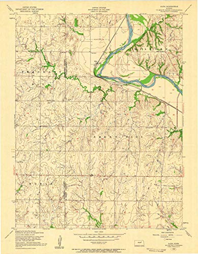 (YellowMaps Alida KS topo map, 1:24000 Scale, 7.5 X 7.5 Minute, Historical, 1955, Updated 1958, 27.06 x 21.08 in - Polypropylene)