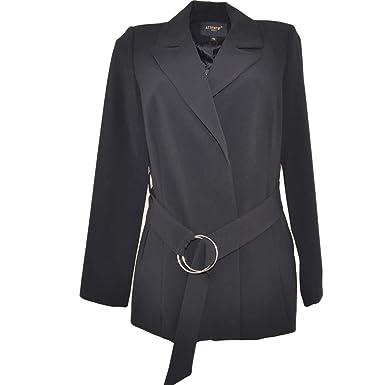 comprare on line 98ad5 0a665 Malu Shoes Blazer Giacca Donna Nera Linea Luxury con Clip e ...