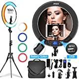 Photo : Ring Light with Remote Controller and Stand ipad Holder,Makeup LED Ring Lights 60W Bi-Color 3000K-5800K CRI≥97 & TLCI≥99 with 4 Color Soft Filters for YouTube, Facebook Live,Twitch and Blogging