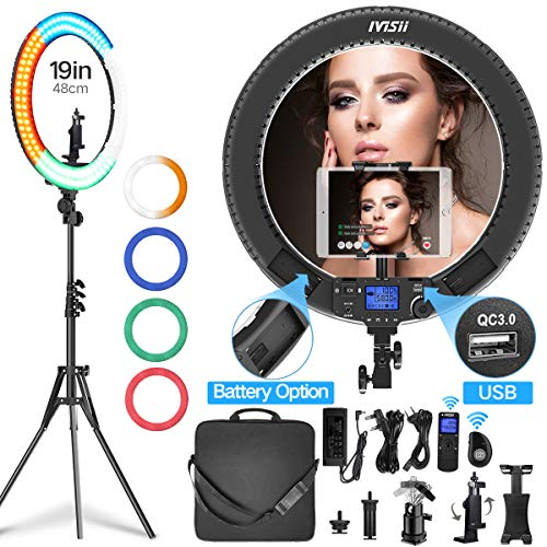 Ring Light with Remote Controller and Stand ipad Holder,Makeup LED Ring Lights 60W Bi-Color 3000K-5800K CRI≥97 & TLCI ≥99 with 4 Color Soft Filters for YouTube, Facebook Live,Twitch and Blogging