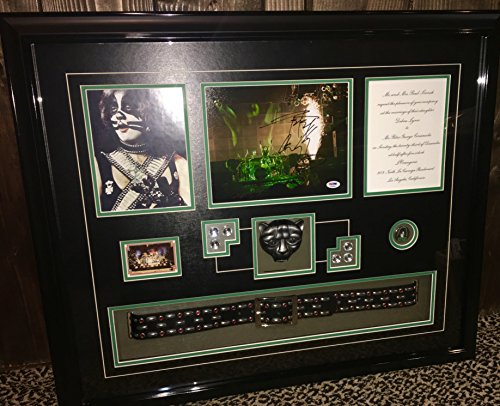 KISS Peter Criss signed photo display belt button card wedding invite PSA DNA COA]()