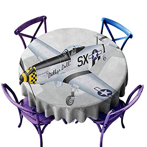 (ONECUTE Spillproof Tablecloth,Vintage Airplane P 51 Dallas Doll Detailed Illustration American Air Force Classic Plane,Party Decorations Table Cover Cloth,47 INCH Multicolor)