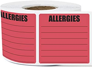 1 Roll - Allergies Warning Label for Food Allergy Warning 2