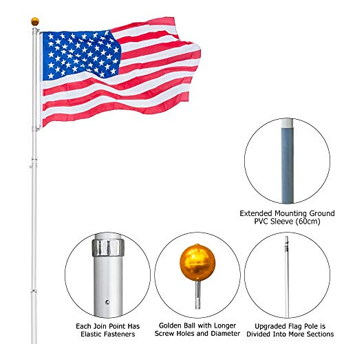VINGLI Telescopic 25FT Upgraded Aluminum Flagpole,Outdoor Halyard Flag Pole, Durable Kit Free 27~33mph 3'x5' USA American Flag Fly 2 Flags, for Residential or Garden Patio