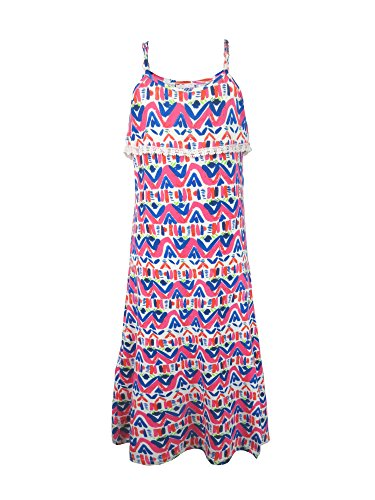 Dress Lace Flounce (S.W.A.K. Girls Printed Maxi Dress Flounce with lace Size 7/8- Pink)