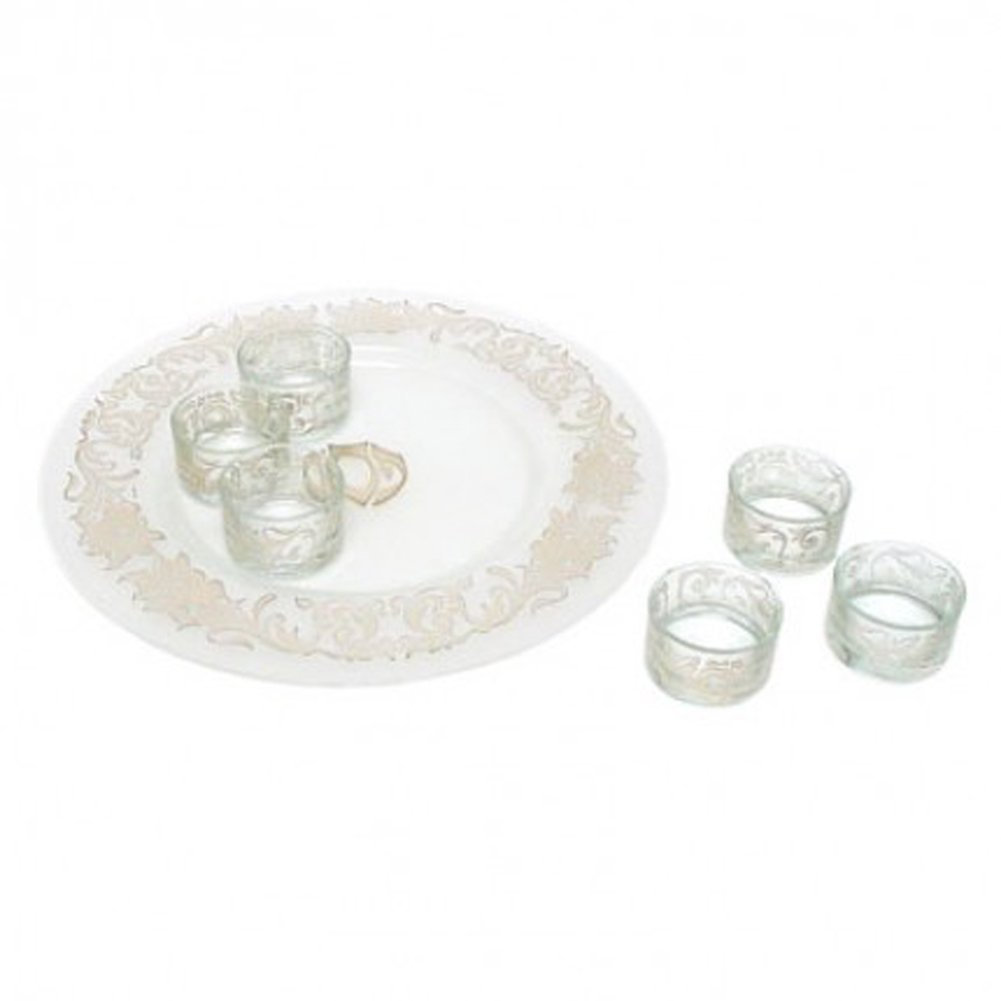 Clear Glass Passover Pesach Seder Plate with Sterling Silver Inlay Floral Trim Design and 6 Matching Dishes Alef Judaica PT618