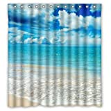 """66""""(w) x 72""""(h) Beautiful Ocean Sea Shower Curtain, Blue Sea Clouds Sun Theme Painting 100% Polyester Bathroom Shower Curtain Shower Rings Included"""