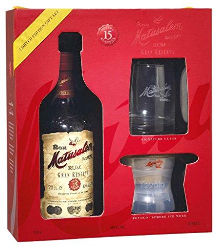 Matusalem - 15 Jahre Rum Gran Reserva 40% - 0,7l inkl. Glas und Eiswürfelbox