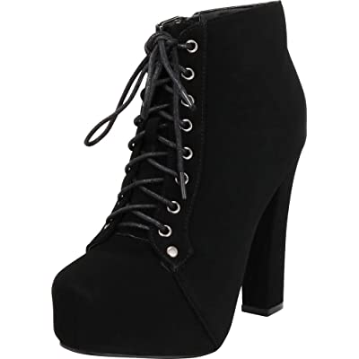 Cambridge Select Women's Lace-up Platform Chunky High Heel Ankle Bootie | Shoes