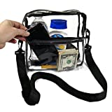 EliteBags Clear Cross Body Messenger Tote Shoulder Bag w Adjustable Strap, NFL Stadium Approved Vinyl Purse, Black Trim