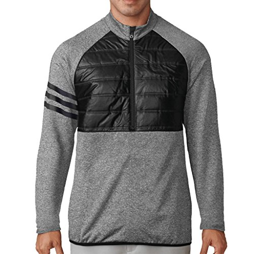 Adidas 2017 3 Stripes Climaheat Quilted 1/4 ZIP Performance Golf Jacket / Sweater Black XXL 1/4 Zip Stripe Sweater