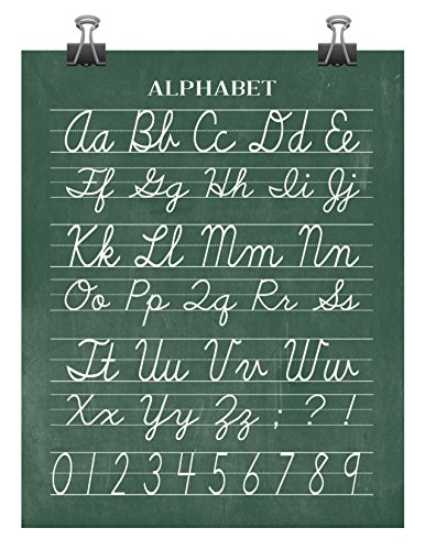 Standard Cursive Alphabet (Vintage Alphabet and Numerical Cursive Classroom Poster Chalkboard Word Art - Back to School Teacher Appreciation Gift - Multiple Sizes)