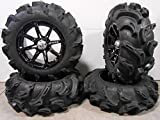 Bundle - 9 Items: MSA Black Diesel 14'' ATV Wheels 27'' Mega Mayhem Tires [4x156 Bolt Pattern 3/8x24 Lug Kit]