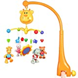 GoAppuGo Musical Cot Mobile with battery operated Rotation, 4 Removable hanging toys for babies, 3 musical modes (sleep, play & natural) with timer, volume adjustment