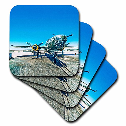 3dRose Boehm Photography Aircraft - B-25 Mitchell Bomber - set of 4 Coasters - Soft (cst_186793_1)