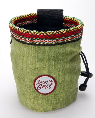 (Pure Grit Grassy Aztec Chalk Bag (USA made) with Belt)