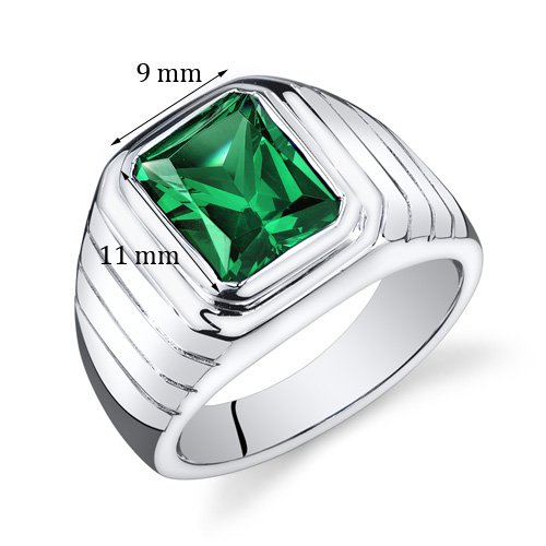 Mens 5.50 Carats Simulated Emerald Octagon Ring Sterling Silver Size 13