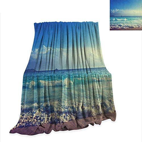 Anyangeight Ocean Weave Pattern Extra Long Blanket Tropical Island Paradise Beach at Sunset Time with Waves and The Misty Sea Image 80