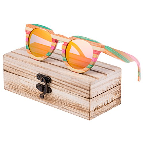 WISH CLUB Polarized Rainbow Wood Beach Round Sunglasses for Women mirrored Lenses Wooden Bamboo Sun Glasses for Girls Oval Colorful UV 400 Retro Lightweight Eyewear - Change Sunglasses Sun Color The In
