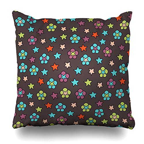 (Ahawoso Throw Pillow Cover Space Blue Celebrations Cute Small Flowers Pastel Daisy Brown Children Christmas Color Fireworks Home Decor Pillowcase Square Size 20 x 20 Inches Zippered Cushion Case)