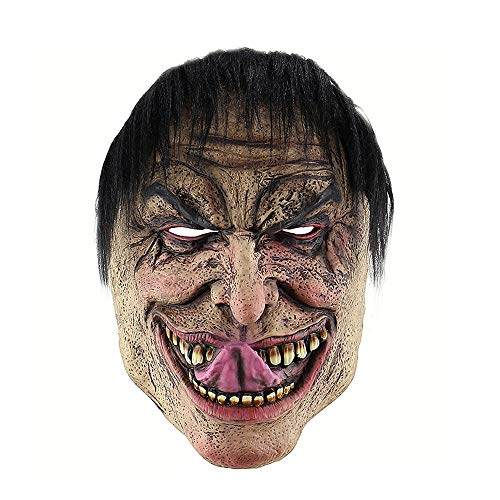 Wetietir Festival Mask Halloween Funny Wretched Man Mask Foreign Trade Amazon Horror Latex Clown Mask Wig mask Costume -