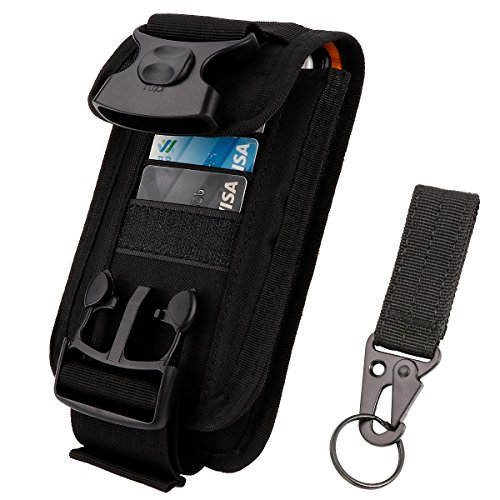 IronSeals 2 Pouch Fasten Lock Card Holder Organizer, EDC Utility Gadget Pouch Cellphone Holster Tactical Belt Waist Gear Bag with Card Slots for iPhone XSmax XR XS X 8+ 8 7, Samsung S9 S8 S7 and Other