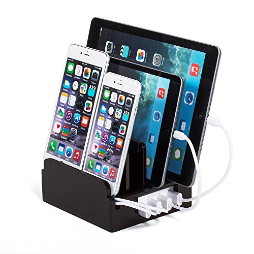 Cherry High Gloss Compact Charging Station with Included Power Supply and Cable Ties by Great Useful Stuff. Cherry High Gloss PLUS with Short Cable Set for Apple Devices (Lightning)